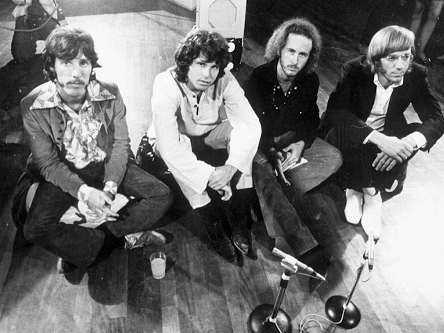 "American rock group The Doors, from left to right: John Densmore (drummer), Jim Morrison (singer), Robby Krieger (guitarist), and Ray Manzarek (organist), appeared on ""Top of the Pops"" (BBC TV Studios) in London, England on September 5, 1968."