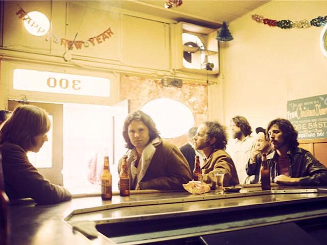 December 1969, Los Angeles, CA — The Doors barside at the original Hard Rock Cafe on East 5th Street in Los Angeles' Skid Row. Sadly, it's no longer there. — Image by © Henry Diltz/Corbis