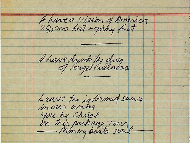 This undated photo provided by Paddle8 shows a hand-written poem by Jim Morrison that is being auctioned by Paddle8 with bidding expected to reach 60,000 to $80,000 by the time it ends June 25. (Paddle8 via AP)