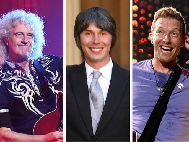 Queen's Brian May, Professor Dr. Brian Cox and Coldplay's Chris Martin. Picture: Michael Loccisano/Getty Images & Dominic Lipinski/PA Archive/PA Images & Kevin Winter/Getty Images