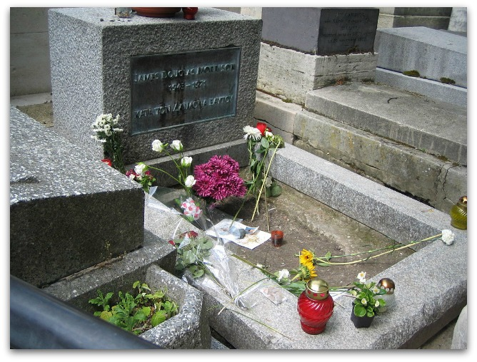 Jim Morrison's grave at the Père Lachaise Cemetery in Paris