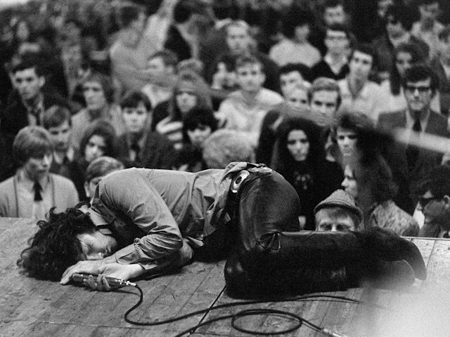 Jim Morrison, lead singer of The Doors, onstage at Kongresshalle in Frankfurt, Germany on September 14, 1968. Photo by Michael Ochs Archives.